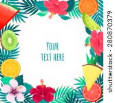 palm leaves  hibiscus flower... | Shutterstock .eps vector #280870379