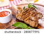 rack of lamb fried with... | Shutterstock . vector #280877591
