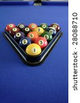pool balls on blue pool table | Shutterstock . vector #28088710