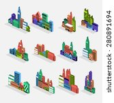 isometric building icon set... | Shutterstock .eps vector #280891694
