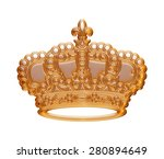 gold crown isolated white.   Shutterstock . vector #280894649