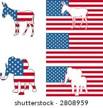 The democrat and republican symbols of a donkey and elephant and American flag. Raster version - stock photo