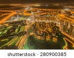 panorama of night dubai during...   Shutterstock . vector #280900385