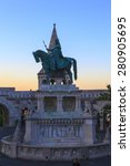 Small photo of BUDAPEST, HUNGARY - MAY 9 2014: Fishermen Bastion in Budapest. Conical towers from Castle Hill, are an allusion to the tribal tents of the early Magyars.