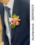wedding boutonniere on suit of... | Shutterstock . vector #280909019