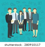 friends work the company staff... | Shutterstock .eps vector #280910117
