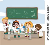cartoon scientist children kid... | Shutterstock .eps vector #280913084