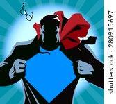 superhero tearing his shirt.... | Shutterstock .eps vector #280915697