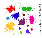colored silhouette set of ink... | Shutterstock .eps vector #280916051