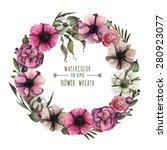 vector floral wreath in... | Shutterstock .eps vector #280923077