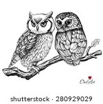 image of two owls on a branch.... | Shutterstock .eps vector #280929029