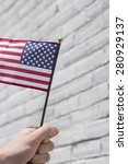 waving three american flags in... | Shutterstock . vector #280929137