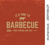 barbecue badge on red  grunge... | Shutterstock .eps vector #280938629