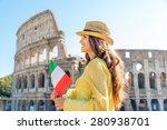 a woman tourist in summer is... | Shutterstock . vector #280938701