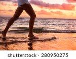 running woman jogging barefoot... | Shutterstock . vector #280950275