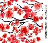 japanese cherry blossom  sakura ... | Shutterstock .eps vector #280957811
