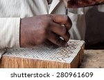 a craftsman carving a wooden... | Shutterstock . vector #280961609