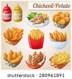 chicken and potato. set of... | Shutterstock .eps vector #280961891