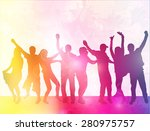 happy people silhouettes with... | Shutterstock .eps vector #280975757