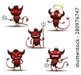 Little Red Devils Set  Vector