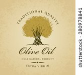 banner with olive tree and... | Shutterstock .eps vector #280978841