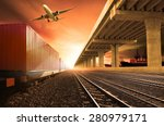 container trains on railways... | Shutterstock . vector #280979171