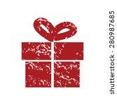 red grunge gift logo on a white ...