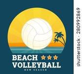 beach volleyball seasonal card... | Shutterstock .eps vector #280992869
