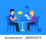 young couple sitting in the... | Shutterstock .eps vector #280992875