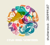 color fish and seafood icon.... | Shutterstock . vector #280999187