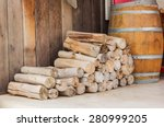 Stack Of Firewood Logs In Fron...