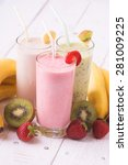 fruit smoothies with ... | Shutterstock . vector #281009225