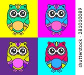Cute Colorful Vector Owls In...