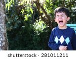 boy crying while standing up in ... | Shutterstock . vector #281011211