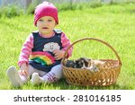 little girl sitting in green... | Shutterstock . vector #281016185
