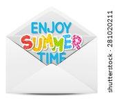 paper envelope with summer... | Shutterstock .eps vector #281020211