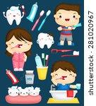 brushing teeth vector set   Shutterstock .eps vector #281020967