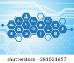 medical background and icons to ... | Shutterstock .eps vector #281021657