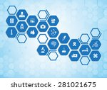 medical background and icons to ... | Shutterstock .eps vector #281021675