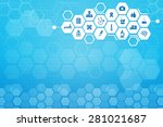 medical background and icons to ... | Shutterstock .eps vector #281021687