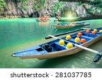 Longtail Boats At Cave Entranc...