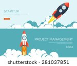 rocket ship in a flat style... | Shutterstock .eps vector #281037851