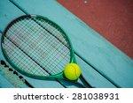 a tennis racket with tennis... | Shutterstock . vector #281038931