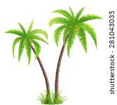 Two Coconut Palm Trees With...