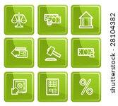 green senso finance icons set.