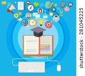 concept of online education. e... | Shutterstock .eps vector #281045225