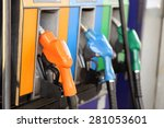 pump nozzles at the gas station.... | Shutterstock . vector #281053601
