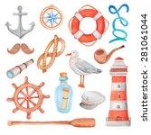 watercolor nautical sea set   Shutterstock .eps vector #281061044