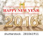 Happy New Year 2016 Year Wood...