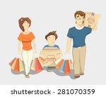 happy family with paperbags... | Shutterstock .eps vector #281070359